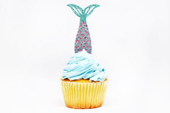 Mermaid Tail Cupcake Toppers - Lavender + Aqua Glitter - First Birthday Decor. Mermaid Party Decor. Birthday Party. Mermaid Party Favor.