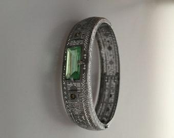 Art Deco Bracelet FILIGREE Bracelet Bangle Bracelet 1920s Vintage Rhodium Plate Peridot Faceted Stone Plainville Stock Company PSCo
