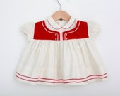 Vintage Baby Dress in Red and White / Scandinavian Styling / 1960s Dress