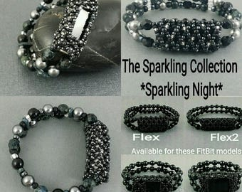 Bracelet For FitBit FLEX, FLEX2, ALTA, Alta2 or Charge2! *Sparkling Night* Black,Silver,Stretch,Tech,Free Resizing!*