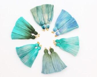 Simple one tassel earrings-tie dyed tassels-hand colored jewelry-fun earrings-statement earrings-tassel jewelry-multicolor options/ FRINGY 6