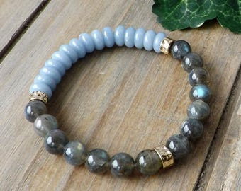 Labradorite Bracelet, Blue Jade Bracelet, Sundance Style, Stretch Bracelet, Set with Earrings, Boho Jewelry, Stacking, Gemstone, Flash, Gift