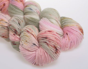 Hand Dyed Yarn 'Just Because' -  Hand dyed Wool Yarn, Wool Yarn 4 ply   DK  Pink  Rose    100g