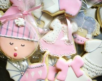 Assorted Baby Girl Shower cookies
