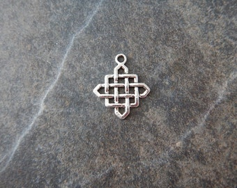 8 Square Knot Charms Celtic Irish Not as Shiny as Photo Suggests Silver Tone 25x21mm