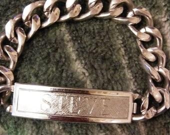 "STEVE...Speidel Rhodium Electroplated Men""s Curb Chain Bracelet  Engraved"
