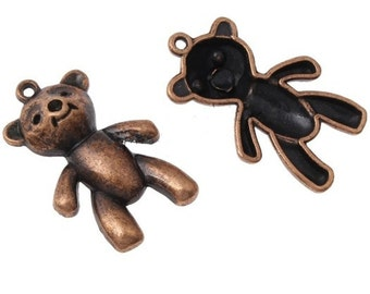 4PC 38x24mm antique copper finish metal bear pendants-7226i