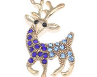 2pc 39x20mm gold finish with rhinestones metal deer pendants-7228z