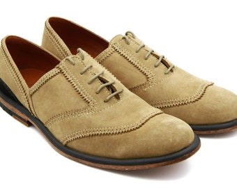 Suede Oxford Shoes, Leather Oxford Shoes, Brown Real Leather Shoes, Camel Suede Derby Shoes, Size 8.5, Womens Suede Flat Shoes, Casual shoes