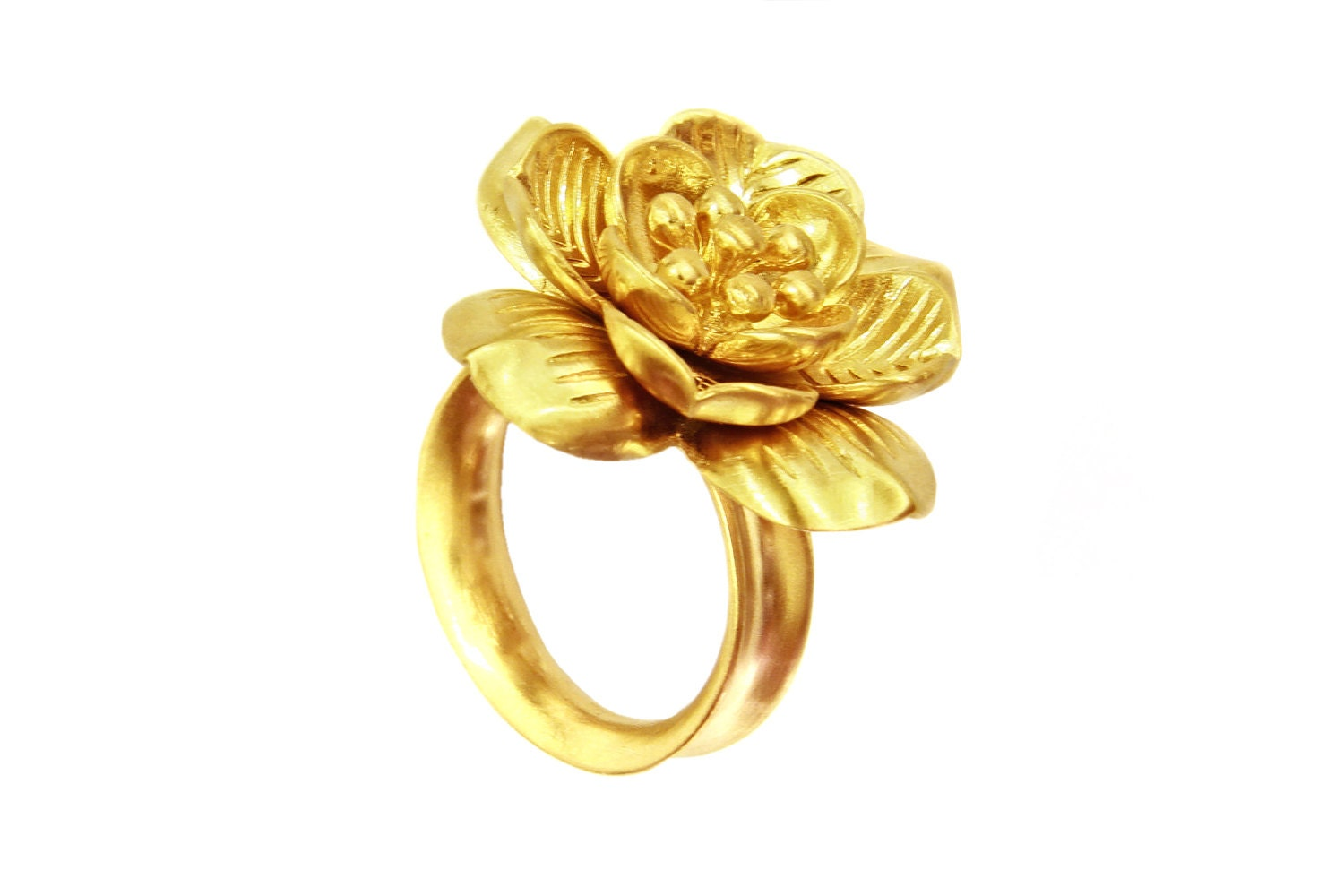 lotus flower ring mystical buddhist ring yellow gold ring. Black Bedroom Furniture Sets. Home Design Ideas