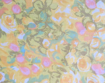 One Yard of Vintage Sheet Fabric - Watercolor Floral Field