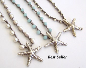 Beach Jewelry Starfish Necklace - Freshwater Pearls, Amazonite, Silver Beads, Sterling Silver Starfish Pendant,  - Boho Beach Cottage Chic