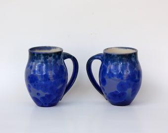 Pair of Cobalt Crystalline Mugs