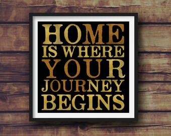Home Is Where Your Journey Begins - Word Play - Square Print - Different Sizes - Frame Not Included