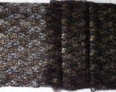Vintage Black and Gold Lace Tulle Yardage 4 Yards 35 Wide