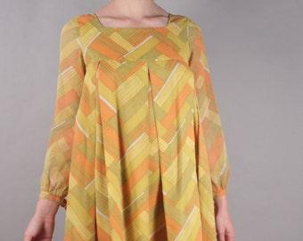 60s Twiggy Orange Yellow Geometric Factory Girl Baby Doll Dress w Basket Weave Print