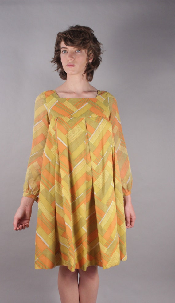 60s Twiggy Orange Yellow Geometric Factory Girl Baby Doll Dress w Basket Weave Print