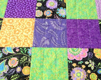 Quilt for a Girl, Handmade, Quilt for Sale, Lap Quilt, Flannel, Flowers, Blanket Throw, Yellow, Green, Purple