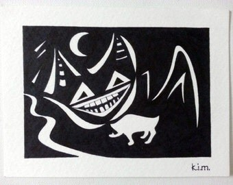 "sale 4""x6"" GRIN CAT HITCHHIKING original kimartist abstract animation book brut dark manga modern moon pen & ink pop black white sfa oswoa"