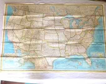 National Geographic USA Map. Vintage Map of the United States