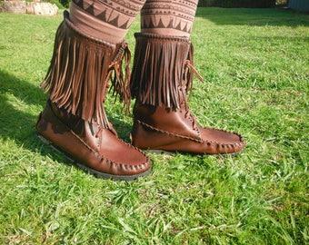 dark brown short leather boots