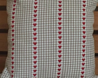 Gingham check love heart cushion cover - Gingham check love heart pillow cover red love heart cushion/red love heart pillow cover