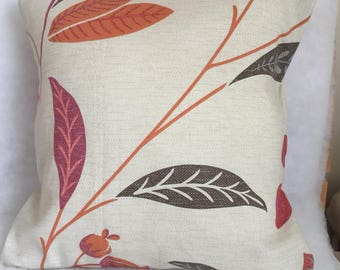 Handmade Orange Cushion Cover with leaves on fabric Cotton Pillow Cover 15'' modern style cushion