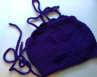 Purple Shelled Crochet Festival Crop Top