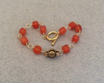 Antique Watch Chain Link  Bracelet, AAA Quality Carnelian Gemstones