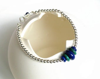 "100% natural gemstone lapis lazuli Malachite 925 sterling silver beads bracelet 6.3"" to 7.8""  handmade jewelry"