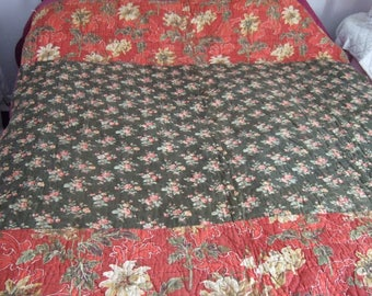 Antique French Boutis/Quilt handmade with odd fabric's. Rustic Charm. Country Decor .