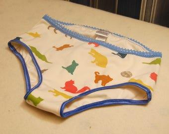 Cats organic cotton underwear,multicolor print ivory undies, sizes 1T 2T 3T 4T 5T 6 8 10