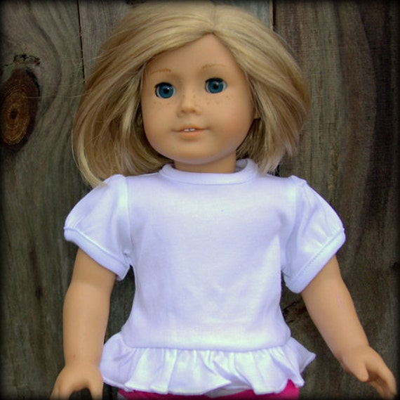 American DOLL Girl Blank White Shirt T Shirt 18 Inch Doll Ruffle Wholesale Make Your Own Doll Shirt Birthday Party