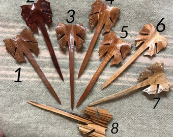 Wood hair sticks for long hair or dreadlocks / polished with beewax/ butterfly