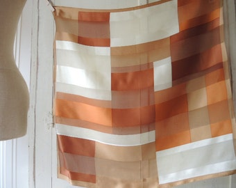 Vintage silk scarf Jones New York  partially sheer neutral colors 21 x 21 inches