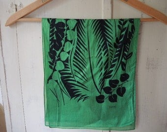vintage 1980s Echo scarf kelly green and black abstract tropical slightly sheer  10 x 53  inches