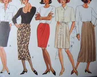 vintage 1990s Butterick sewing pattern 6496 misses wrap skirt size 6-8-10