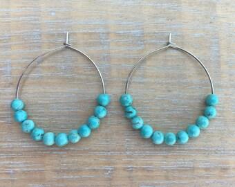 Aqua Earrings, Hoop Earrings, Dangle Earrings, Lightweight Earrings, Boho Jewelry, Mom Gift, Sister Gift, Friend Gift, Girlfriend Gift