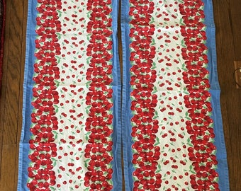 2 Vintage Table Runners with Cherries, Blue, Red, White and Green, 1950s or 1960s Cotton, tablerunners, Picnic, Cottage Style, Kitch, Retro