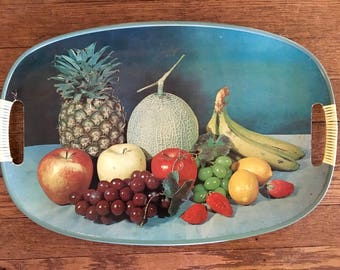 Mid Century Serving Tray with Fruit Photograph, Made in Japan