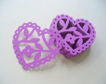 Purple Scalloped Paper Hearts and Flowers, Die Cut Heart, Cards, Papercrafts, Party Table Confetti, Martha Stewart, Grape Color