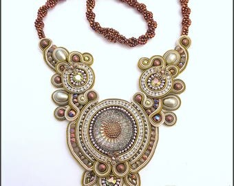 Olive Gold and Bronze Soutache necklace