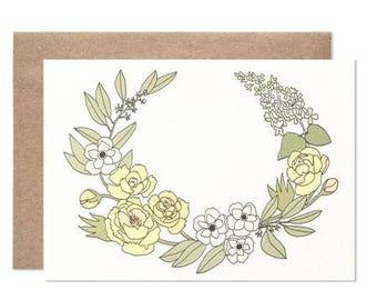 Yellow Laurel Blank Folding Card