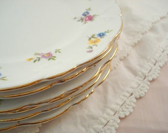 Vintage Wedding Dessert Plates Collingwoods England Bone China Bread Butter Plates Set of 6 Cottage Chic Vintage Bridal Shower