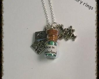 Alice in Wonderland Bottle Charm Necklace