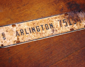 license plate topper , Arlington, 1965 , license plate, automotive , topper, texas, vintage decor, industrial decor