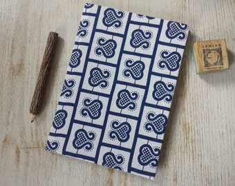 Large Hardcover African print Journal Notebook Sketchbook Jotter - A5 - cartridge paper - 90 pages 140 gsm - white and blue design