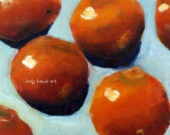 "Oranges Original Oil Painting 5 x 7"" Framed"