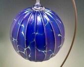 Gold ribbed Cobalt blue Jack Pine glass orb