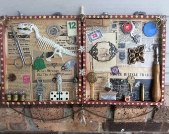 DINOSAUR......Found Objects Mixed MEDIA 3D Art Shadow Box DIORAMA Recycled Stuff Cigar Box Assemblage